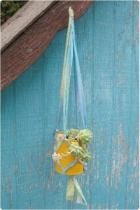 Macrame Plant Hanger DIY from Fabric Strips by Gleeful Things