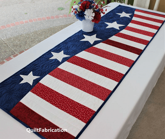 Patriotic Quilted Table Runner Pattern by Quilt Fabrication