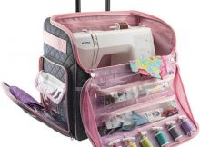 Everything Mary Deluxe Quilted Pink and Grey Rolling Sewing Machine Tote From Amazon