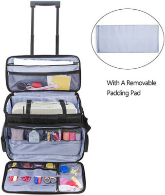 Luxja Rolling Sewing Machine Bag with Removable Pad and Shoulder Strap
