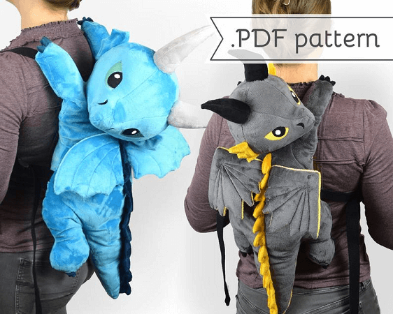 Dragon Plush Backpack Sewing Pattern by Choly Knight