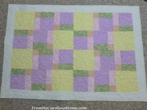 Disappearing Nine Patch Free Yellow Brick Road Quilt Pattern by From My Carolina Home