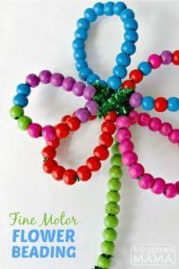 FINE MOTOR SKILL PIPE CLEANER FLOWER BEADING BY B-INSPIRED MAMA