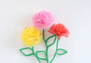 TISSUE PAPER AND PIPE CLEANER FLOWERS TUTORIAL BY MOMMA LEW