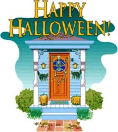 free halloween clipart decorated door