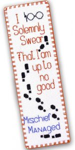 Counted Cross Stitch Bookmark Kits 'Mischief Managed - I Solemnly Swear That I Am Up to No Good'