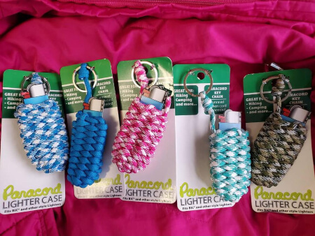 Paracord keychain lighter or lipstick holders