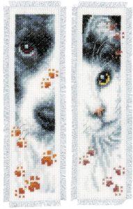 Vervaco Dog and Cat Cross Stitch Bookmark Kits