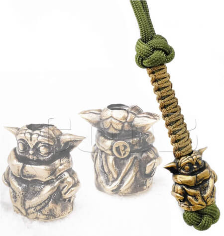 Yoda Paracord Knife Lanyard with Metal Hand Casted Bead