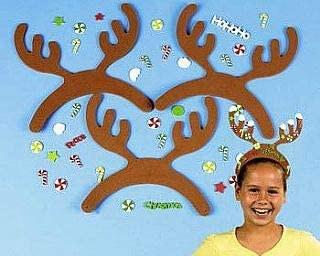 12 Foam Reindeer Antlers Sticker Christmas Craft Kit