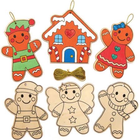 Baker Ross Gingerbread Wooden Christmas Decorations for Kids