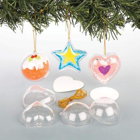 Baker Ross Hanging Glitter Baubles for the Christmas Tree— Christmas Craft Kit for Kids