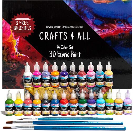 Crafts 4 All Fabric Paint 3D Permanent 24 Colors Set
