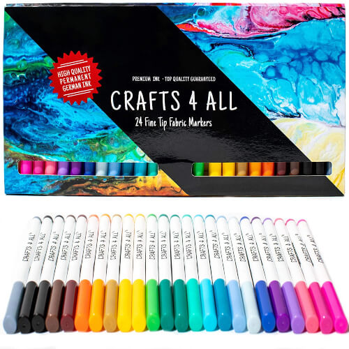 Fabric Markers Pens Permanent 24 Colors Fabric Paint