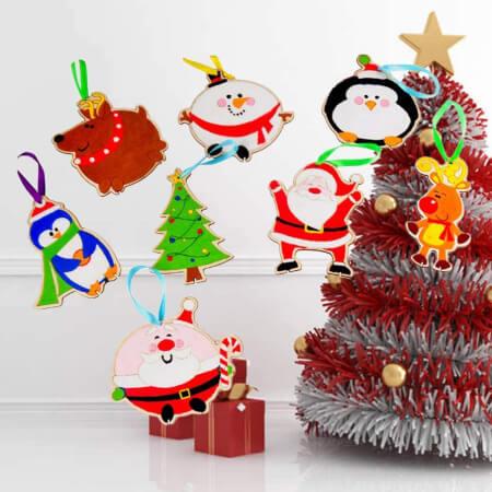 Holibanna 8pcs Wooden Preschool Christmas Crafts for Kids