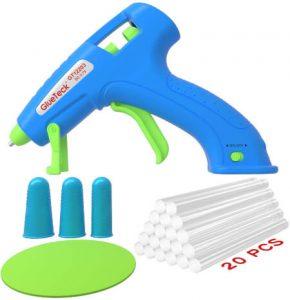Hot Glue Gun, Cordless Hot Melt Glue Gun Kit with 20 Pcs Glue Sticks, (Battery Powered)