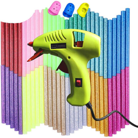 NEX&CO Kids Mini Hot Glue Gun Kit for Small Arts Craft Projects with Finger Protector