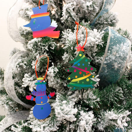 Rainbow Color Scratch Christmas Craft Ornament for Kids