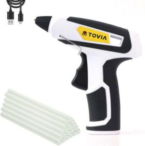T TOVIA Cordless Hot Glue Gun Rechargeable USB, Wireless Lithium Ion Battery Operated Hot Melt Glue Gun with 20pcs Glue Sticks
