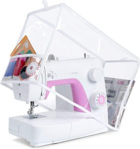 Addicted DEPO Sewing Machine Clear Vinyl Cover with 2 Lateral Pockets