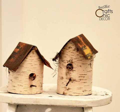 DIY Birdhouse Using Birch And Old Signs by Rustic Crafts & Chic Decor