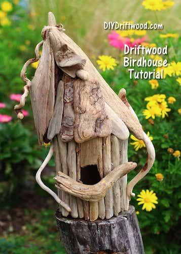 DIY Driftwood Birdhouse by DIY Driftwood