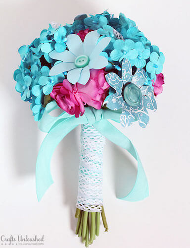 DIY Paper Flower Bridal Bouquet by Crafts Unleashed