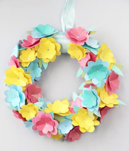 DIY Paper Flower Wreath by Gathering Beauty