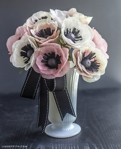 DIY Tissue Paper Anemone Bouquet by Lia Griffith