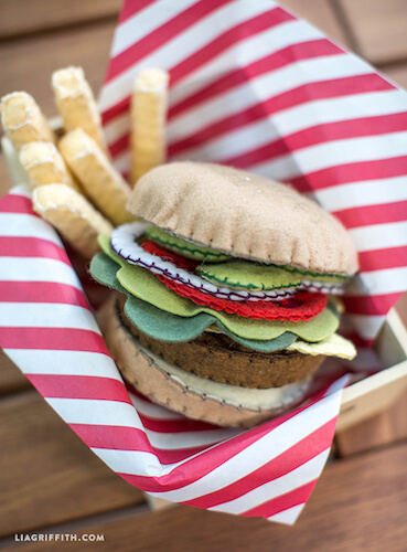 Felt Burger And Fries by Lia Griffith