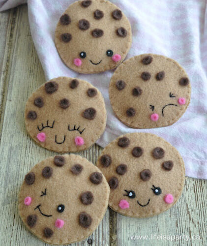 Felt Chocolate Chip Cookies by Life Is A Party