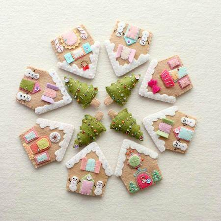 Felt Gingerbread Houses by Gingermelon
