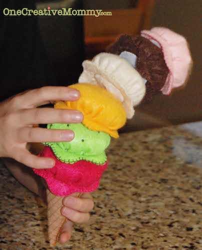Felt Ice Cream Tutorial by One Creative Mommy