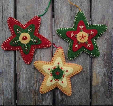 Felt Star Ornaments by Patricia Welch Designs