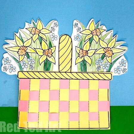 Flower Basket Paper Weaving Art by Red Ted Art