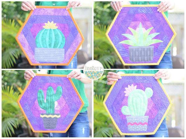 Hexi Cactus Placemats Quilting Pattern by Ira Rott Patterns