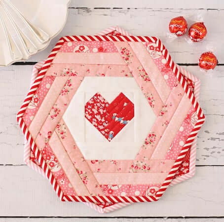 Hexie Heart Placemat Quilt Pattern by A Spoonful Of Sugar