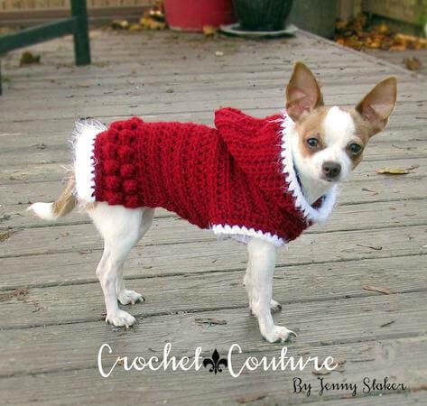 Hooded Dog Sweater Crochet Pattern by Jenny Staker Inspired