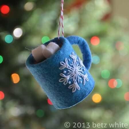Hot Chocolate Felt Ornament by Betz White