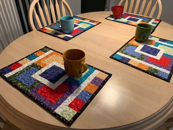Multi Colored Quilted Placemat Pattern by Tulip Square