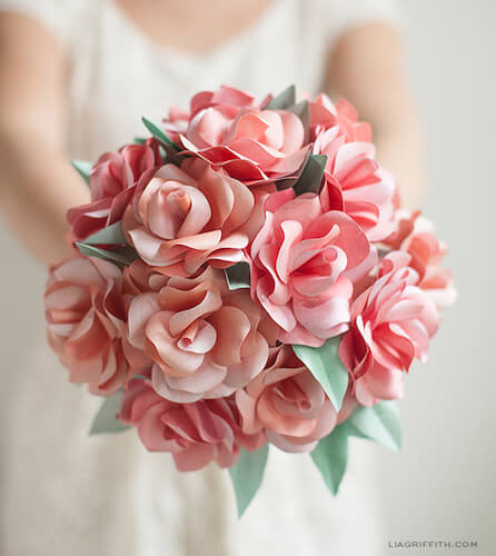 Paper Rose Wedding Bouquet by Lia Griffith