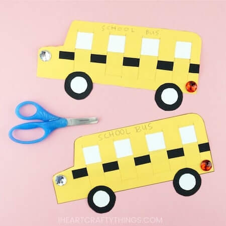 Paper Weaving School Bus Craft by I Heart Crafty Things