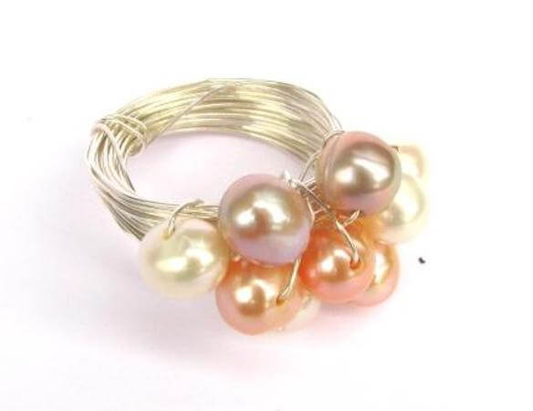 Pearl Bling Ring by Spoilt Rotten Beads