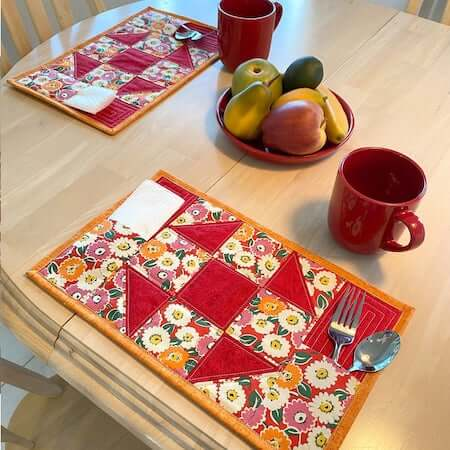 Picnic Pockets Quilted Placemat Pattern by Tulip Square
