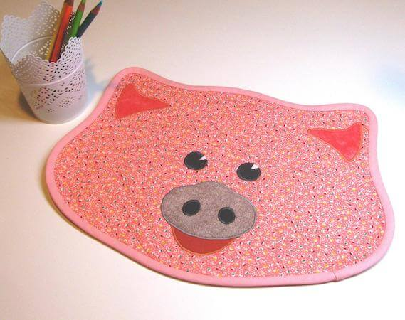 Piglet Quilted Placemat Pattern by Cut Stitch And Piece