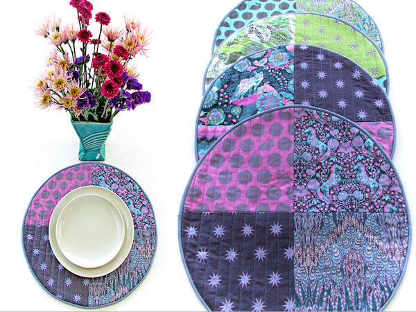 Round Patchwork Placemats Quilt Pattern by Sew 4 Home