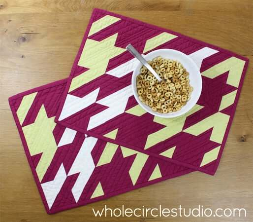 Shifted Houndstooth Quilted Placemat Pattern by Whole Circle Studio
