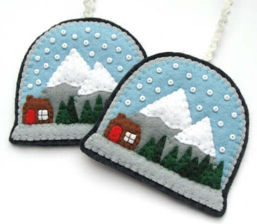 Snow Globes Felt Christmas Ornaments by Lupin