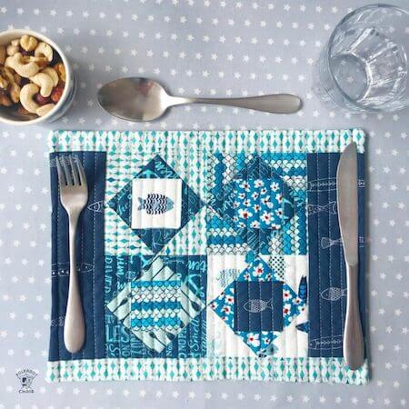 Square In Square Quilted Placemat Pattern by The Polka Dot Chair