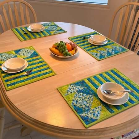 Stripes And Angles Easy Quilted Placemats Pattern by Tulip Square